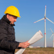 Technician Engineer in Wind Turbine Power Generator Station — Stock Photo #5099999