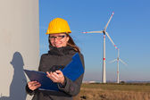 Female Engineer in Wind Turbine Power Generator Station — Stock Photo