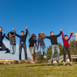 Group of Happy College Students Jumping at Park — Stock Photo #5186663