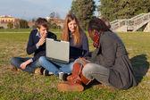 Vysokoškoláky s počítačem v parku — Stock fotografie