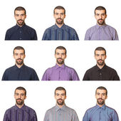 Collection of Portraits, Man Wearing Different Shirts — Stock Photo