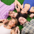 Young Lying on Green Ground with Hands Joined — Stock Photo