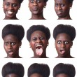 Beautiful Black Woman Portrait, Multiple Image — Stock Photo