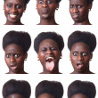 Stock Photo: Beautiful Black Woman Portrait, Multiple Image