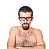 Nude Young Nerd Portrait on white — Stock Photo