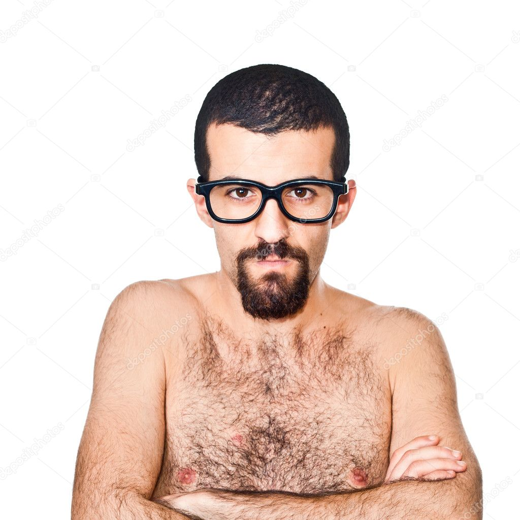 Nude Young Nerd Portrait on white  Stock Photo #5317430