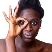 Retrato de hermosa mujer negro sobre blanco — Foto de Stock