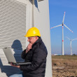 Technician Engineer in Wind Turbine Power Generator Station — 图库照片