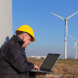 Technician Engineer in Wind Turbine Power Generator Station — Foto Stock