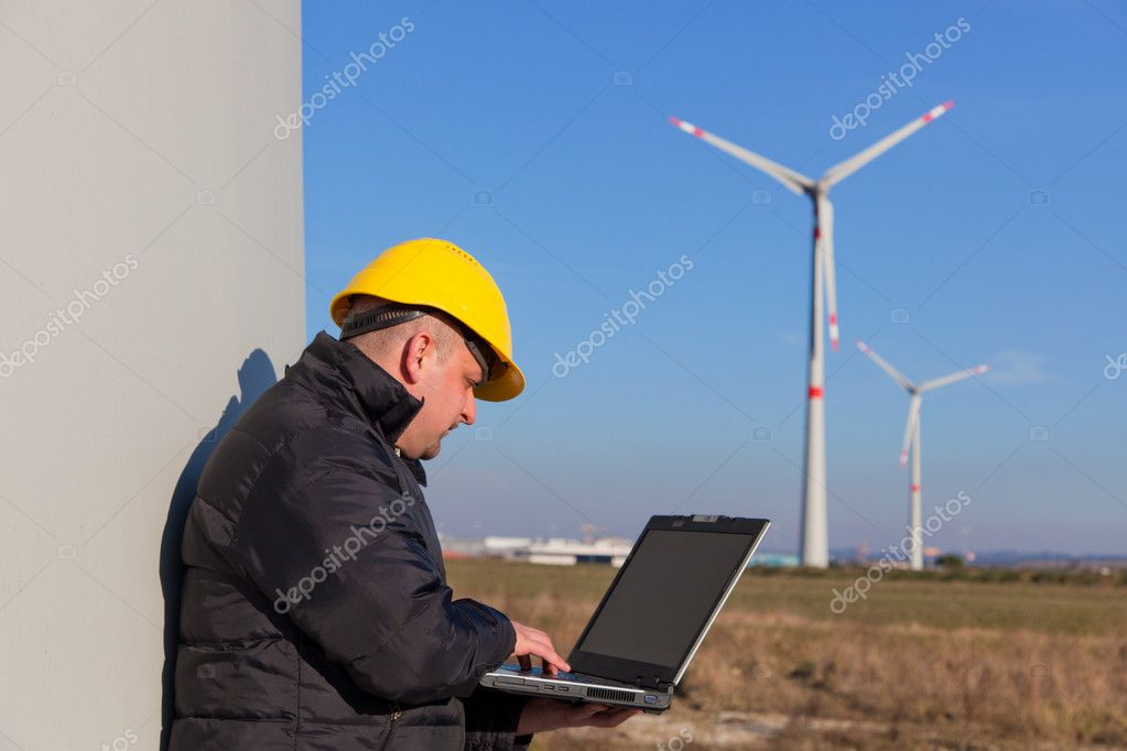 Technician Engineer in Wind Turbine Power Generator Station — Stock Photo #5355172