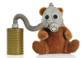 Soft toy bear with gas mask — Stock Photo