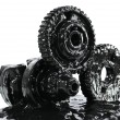 Gears soiled with black oil — Stock Photo