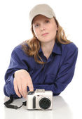 The woman with a camera — Stock Photo
