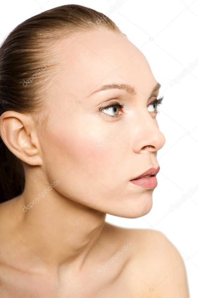 Skin and beauty care - young beautiful female isolated — Stock Photo #4429777