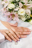 Hands of new married — Stock Photo
