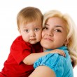 Mother hugging son — Stock Photo