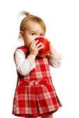 Chica comer manzana — Foto de Stock