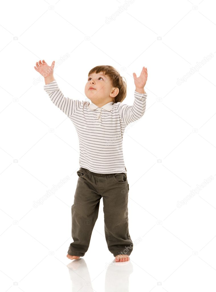 Two years boy standing pointing up isolated on white  Stock Photo #5218257