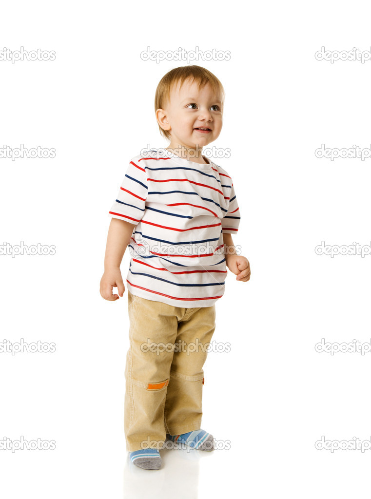 Two years boy standing full length isolated on white  Stock Photo #5253219