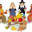 Thanksgiving Pilgrims and Indian Couple — Vector de stock