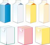 纸箱的牛奶和果汁 — 图库矢量图片