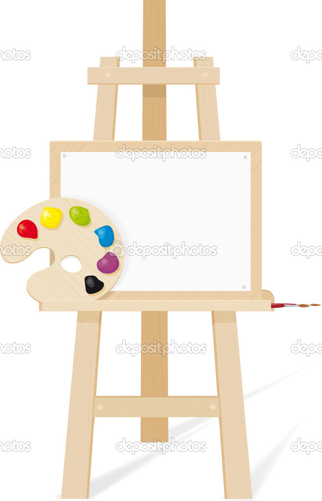 Canvas Brush Easel Paint Palette Image