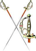 Two crossed ceremonial sword — Stock Vector