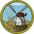 Label windmill drawn in a woodcut like method - Stock Vector