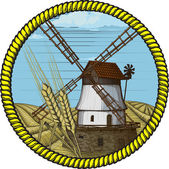 Label windmill drawn in a woodcut like method — Stock Vector