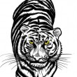 Black and white Crouching Tiger — Imagen vectorial