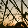 Ship's rigging in sunset — Stock Photo #5105285