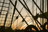 Ship's rigging in the sunset — Stock Photo