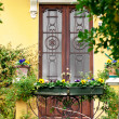 Foto Stock: Italian Door and Flowers