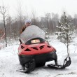 Foto Stock: Womdriving snowmobile