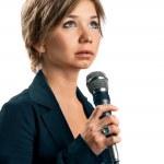 TV Correspondent on white background — Stock Photo