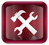Nástroje ikonu tmavě červená, izolovaných na bílém pozadí. — Stock vektor