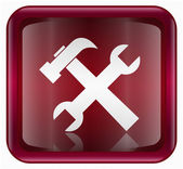 Tools icon dark red, isolated on white background. — Stockvektor