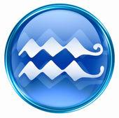 Ikona tlačítka zvěrokruhu vodnář, izolovaných na bílém pozadí. — Stock fotografie