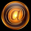 Email icon gold, isolated on black background — Stock Photo