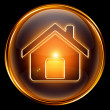 House icon gold, isolated on black background — Stock Photo #5000665