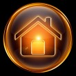House icon gold, isolated on black background — Stock Photo