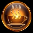 Royalty-Free Stock Photo: Coffee cup icon gold, isolated on black background