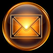 Envelope icon gold, isolated on black background — Stock Photo