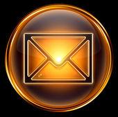 Envelope icon gold, isolated on black background — Stock Photo