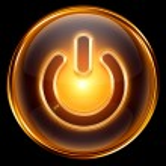 Power icon gold, isolated on black background — Stock Photo #5013676