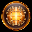 World icon gold, isolated on black background — Stock Photo