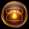 Phone icon gold, isolated on black background. — Stock Photo