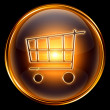 Shopping cart icon gold, isolated on black background — ストック写真