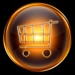 Shopping cart icon gold, isolated on black background — Foto de Stock