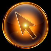Cursor icon gold, isolated on black background — Stock Photo